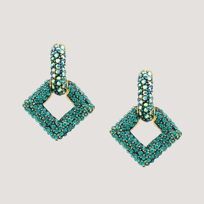 Diamond Shape Crystal Drop Earrings