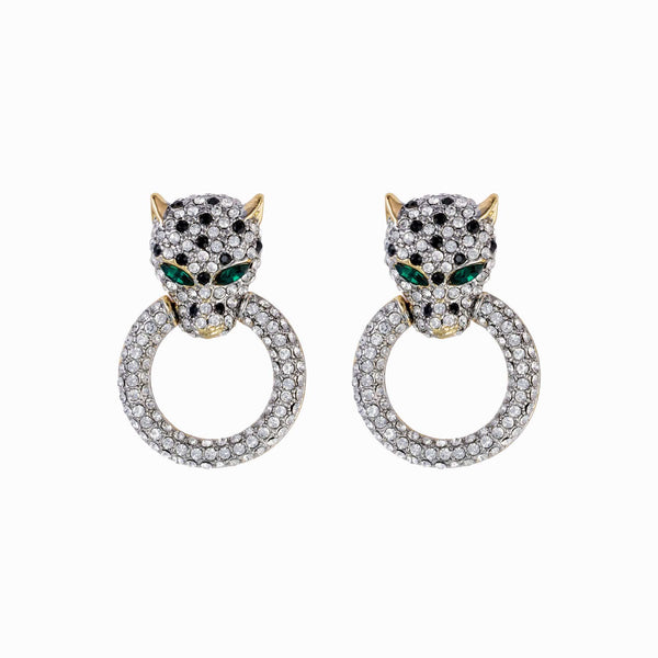 Crystal Medium Leopard Head on Ring Earrings