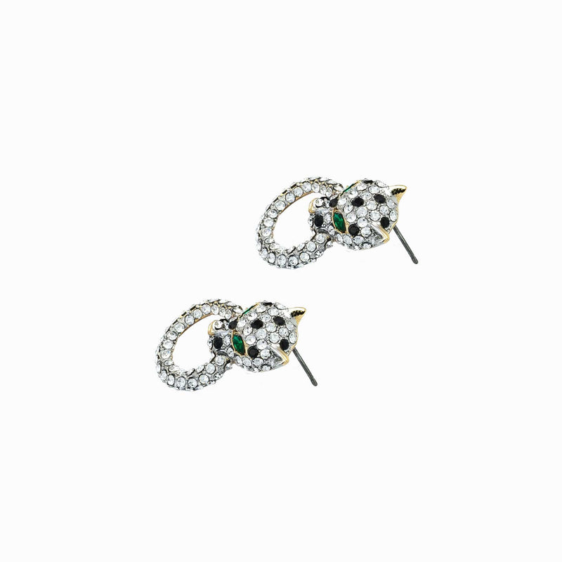 Small Crystal Leopard Ring Earrings