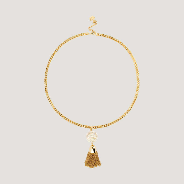 Crystal Encrusted Ball & Gold Tassel Chain Necklace