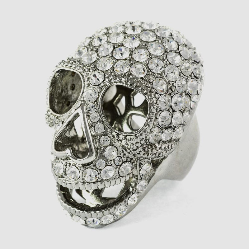 Large Crystal Skull Head Ring
