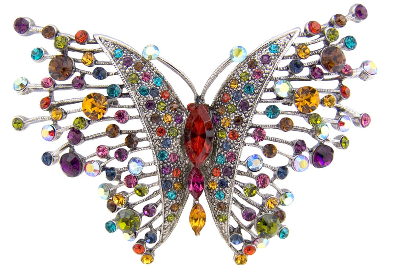 Delicate Crystal Butterfly Brooch
