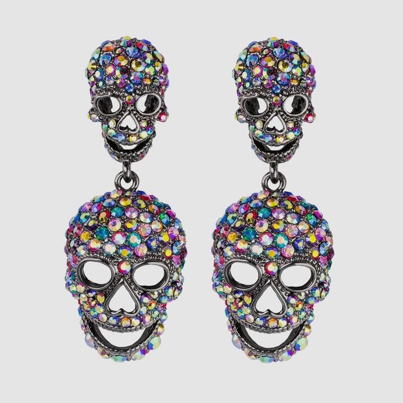 Crystal Double Skull Drop Earrings