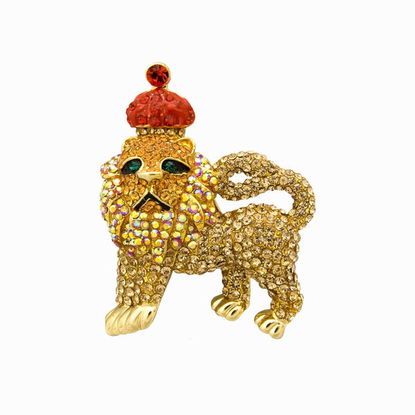 Majestic Lion with Crown Brooch