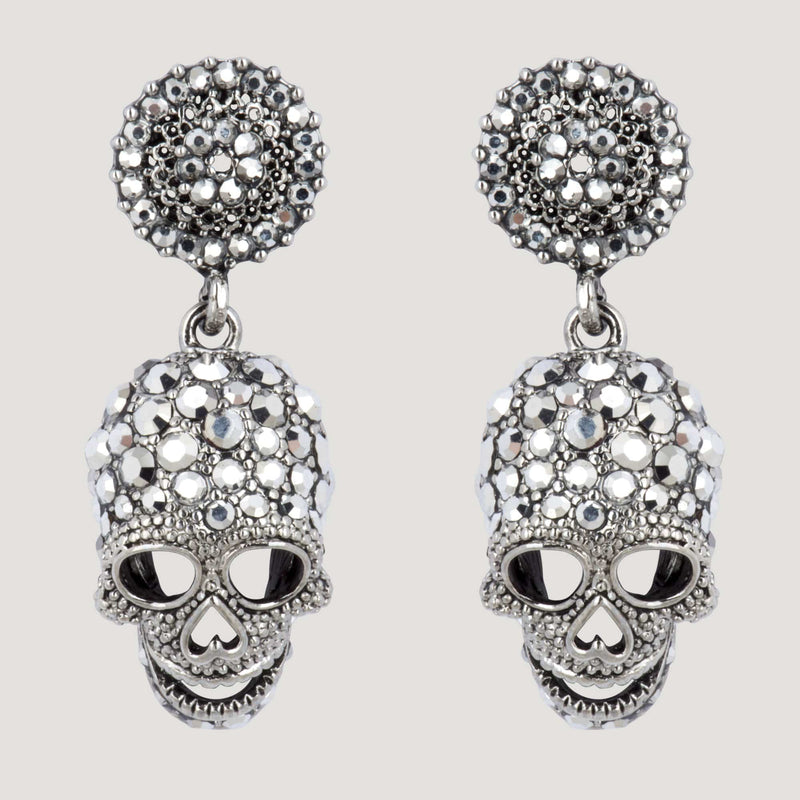 Crystal Skull Drop Earrings with Round Top