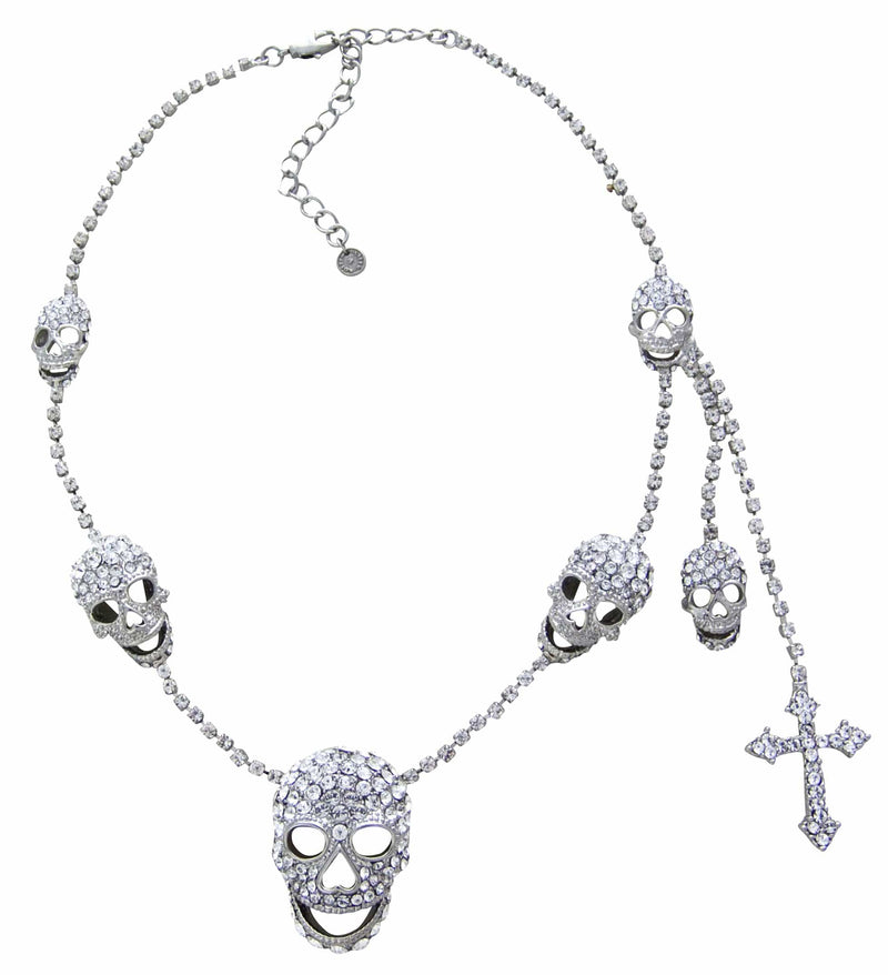 Multi Skull with Side Drops Necklace