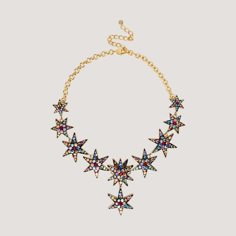 Multi Star Drop Crystal Chain Necklace