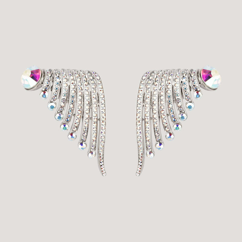 Crystal Wing Clip On Earrings