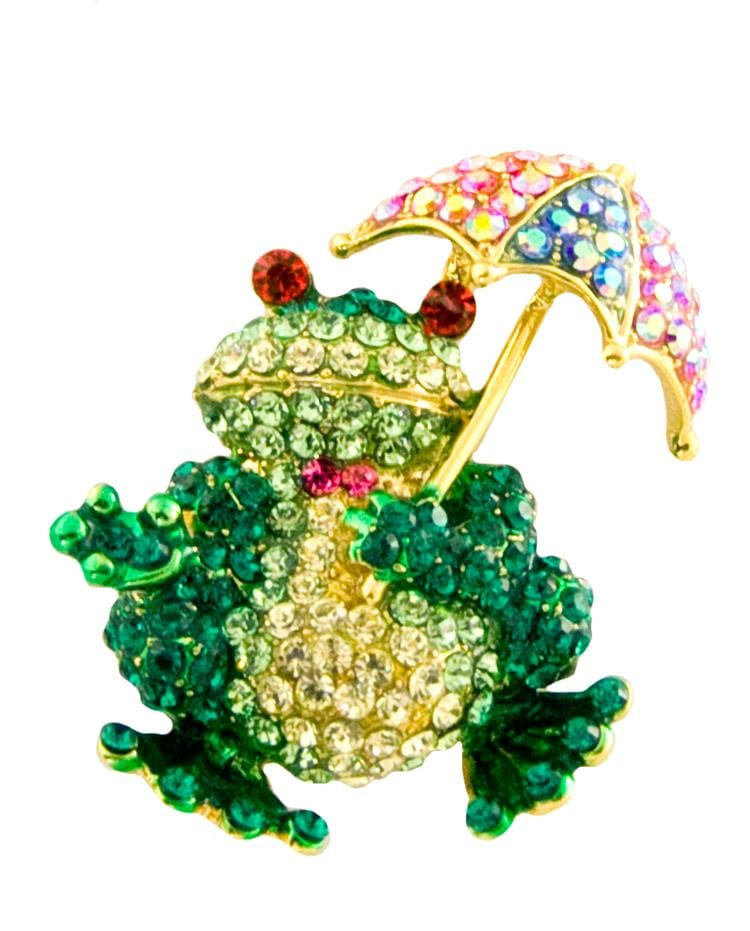 Crystal Frog with Umbrella Pin