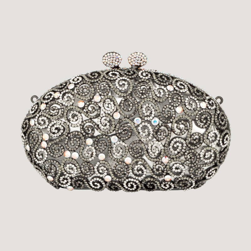 Sale:Swarovski Crystals Oval Filigree Clutch Bag- Special Price