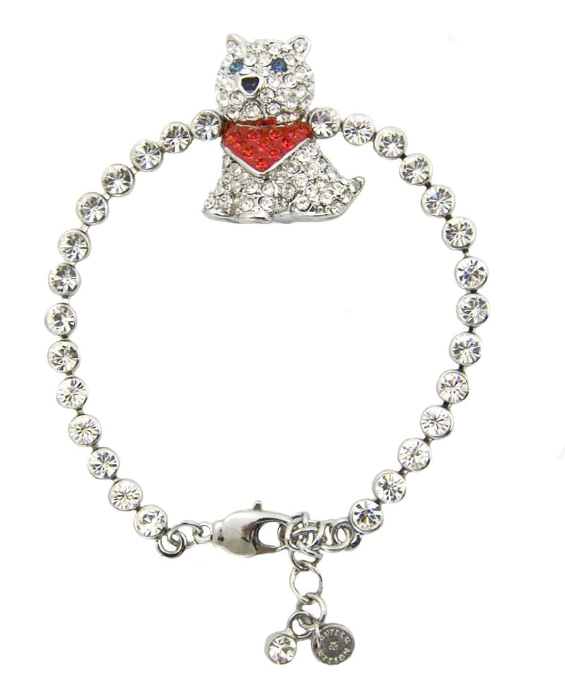 Crystal Dog with Red Scarf Bracelet