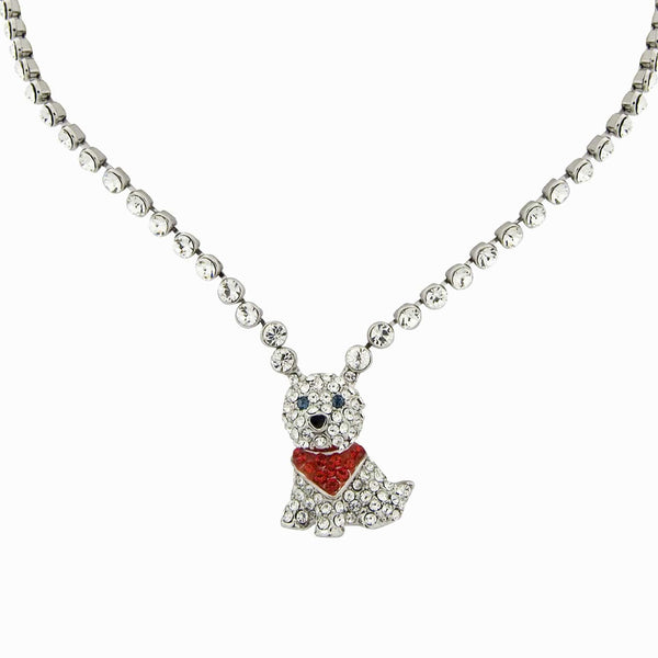 Crystal Dog Pendant Necklace