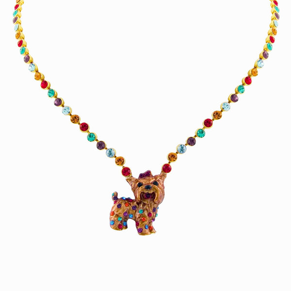 Crystal Yorkie Dog Necklace