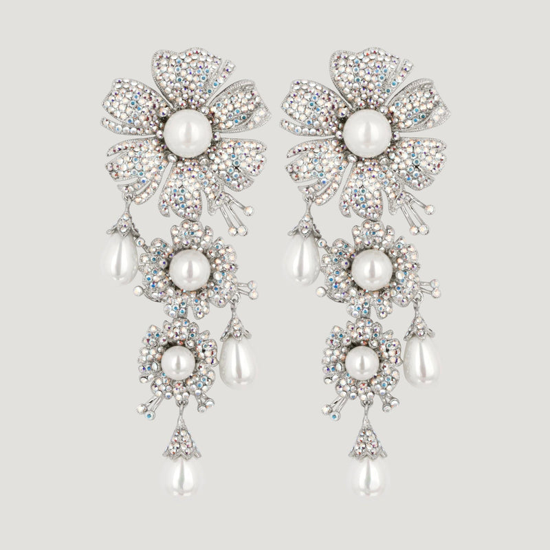 3 Crystal Flowers With Simulated Pearls Large Drop Earrings