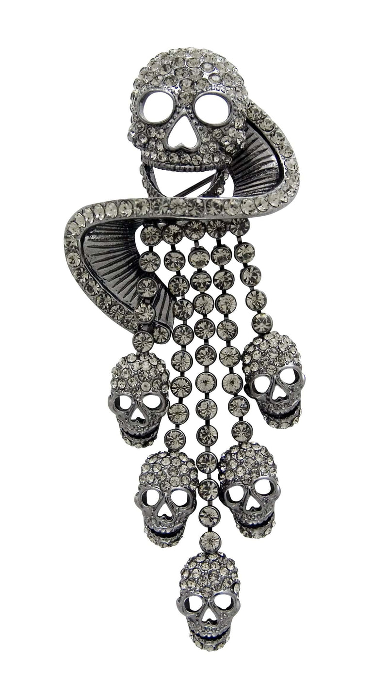 Large Crystal Skull Swirl and Tassel Brooch