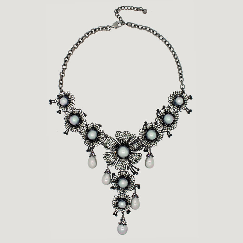 Crystal Flowers with Simulated Pearls Y Shape Necklace