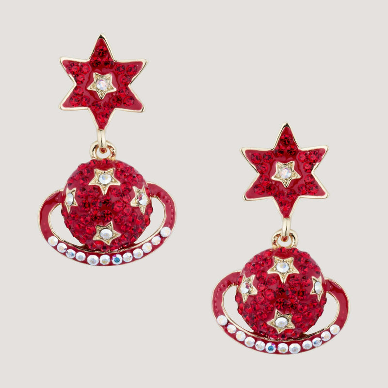 Crystal Star and Planet Drop Earrings