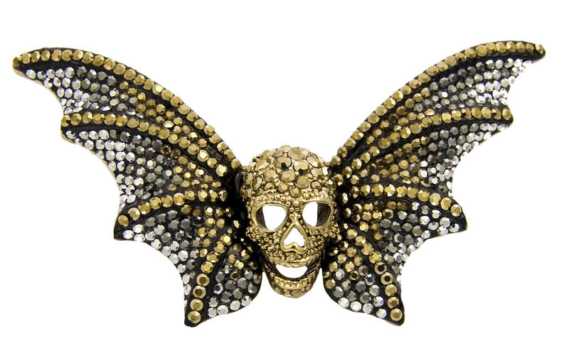 Sale:Crystal Skull with Bat Wings Brooch
