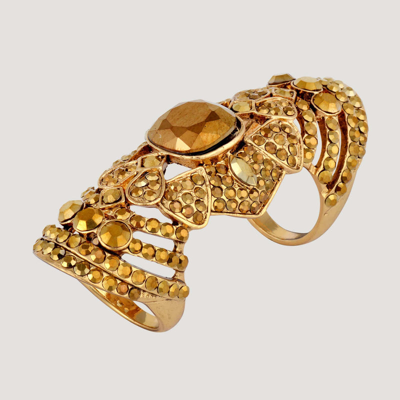 Elaborate Long Crystal Finger Ring