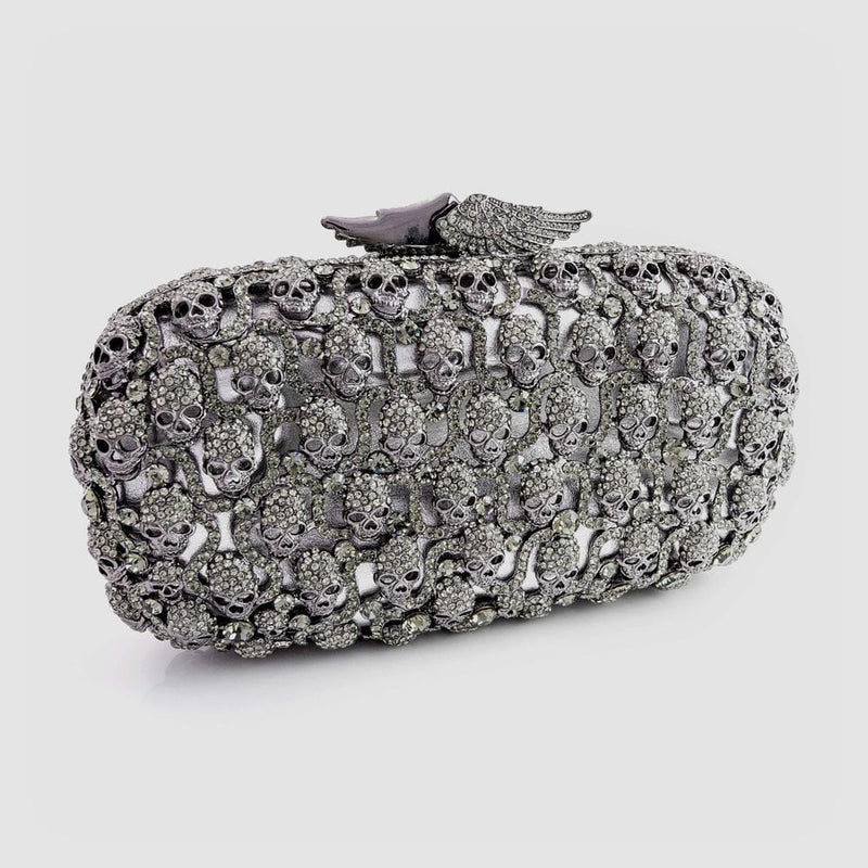 Crystal Multi Skulls with Wings Clasp Clutch Bag