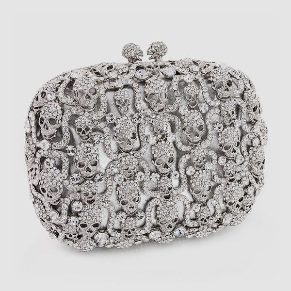 Small Swarovski Crystal Multi Skull Clutch Bag