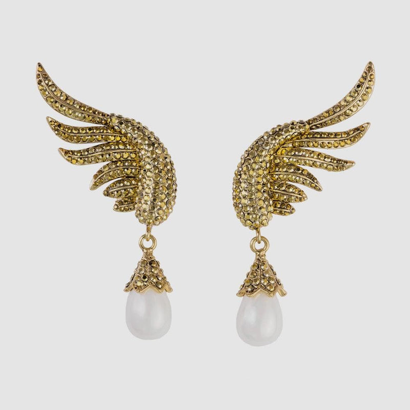 Crystal Wing with Pearl Drop Earrings