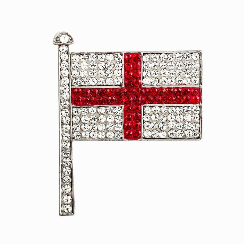Small Crystal Encrusted English Flag Brooch