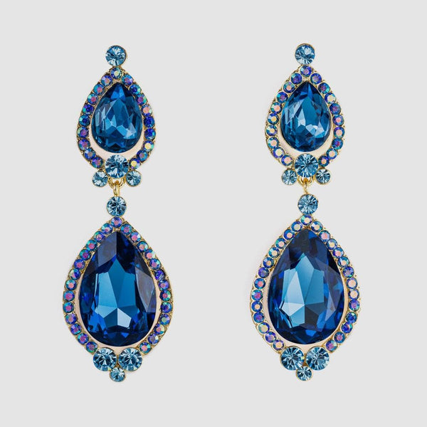 Long Crystal Double Pear Shape Drop Earrings