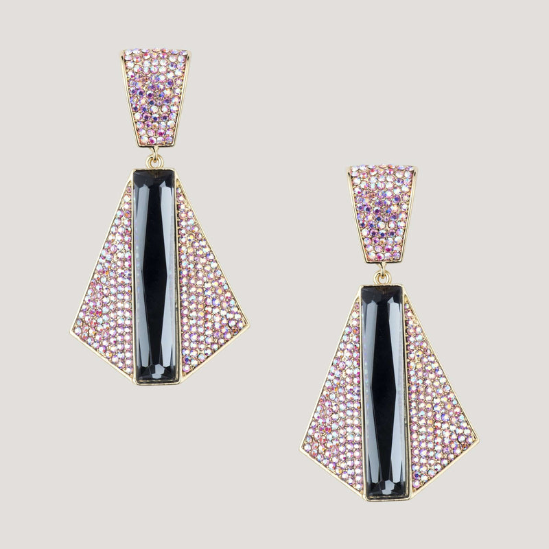 Crystal Art Deco Trapezium Shape Drop Earrings