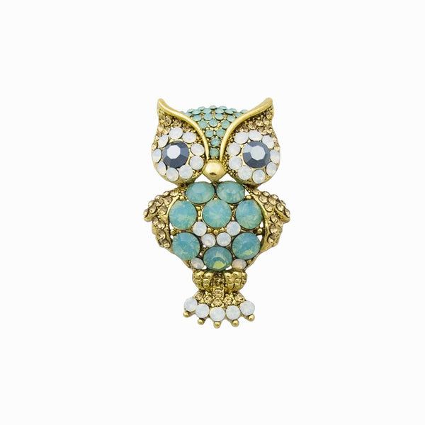 Crystal & Opalised Stone Cuckoo Owl Brooch