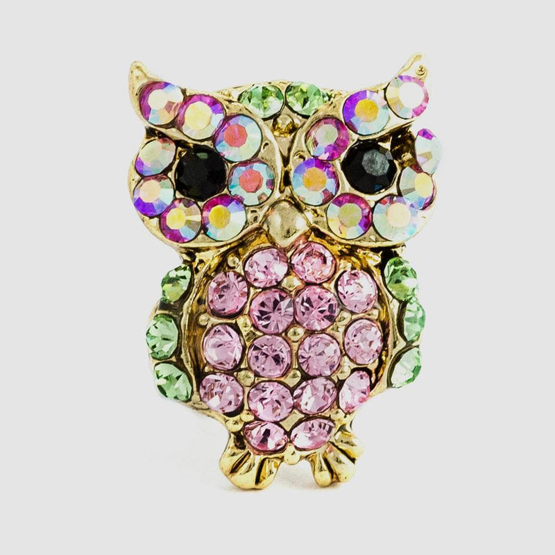 Small Crystal Owl Pin
