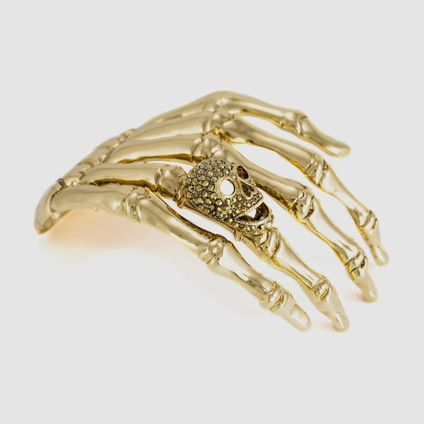Large Skeleton Hand with Skull Shoulder Brooch