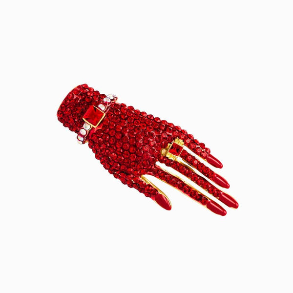 Classic Small Crystal Encrusted Hand Brooch