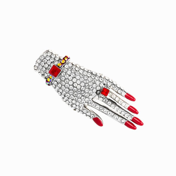Classic Crystal Encrusted Hand Brooch