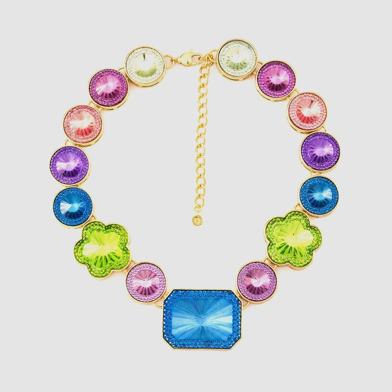 Square with Circles and Flowers Lucite Necklace