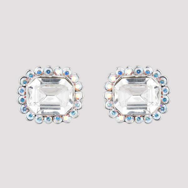 Small Mirror Stone and Crystals Stud Earrings
