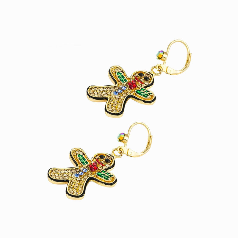 Crystal Gingerbread Man Drop Earrings
