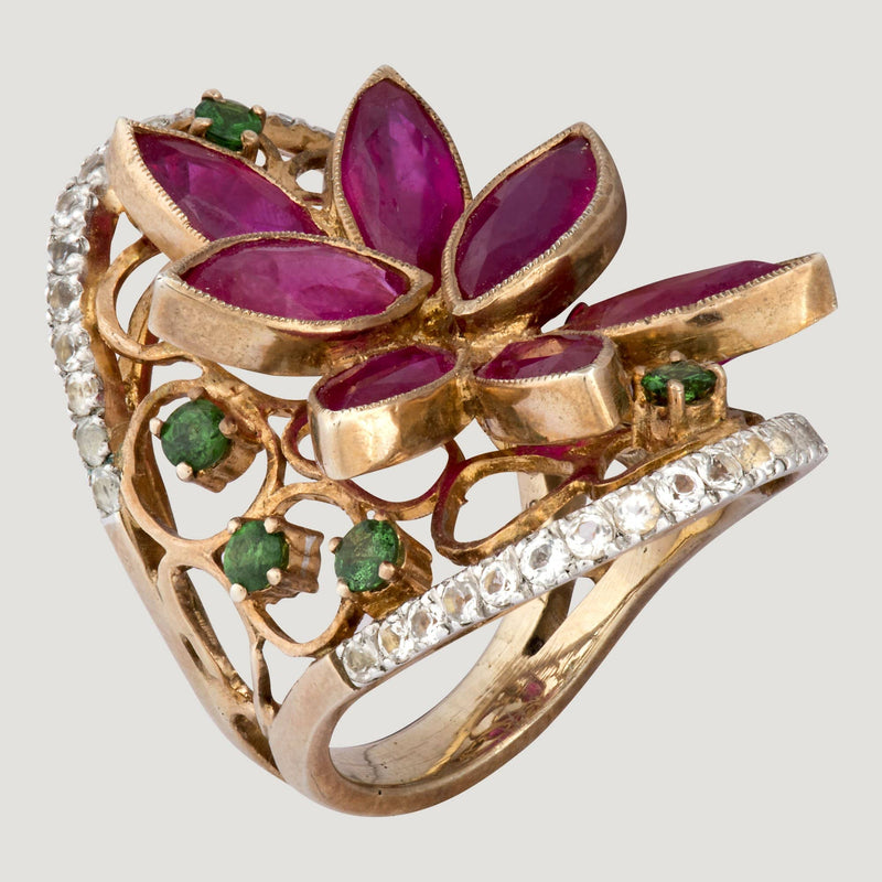 Ruby Petal Gold Plated Ring