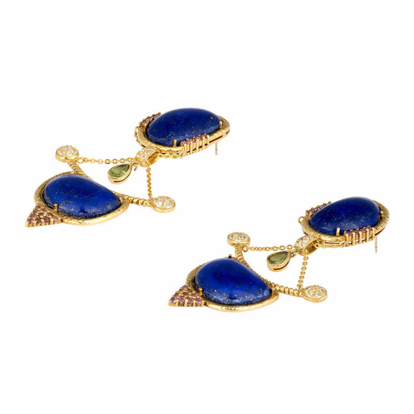 Lapis Lazuli Discs on Chain Drop Earrings