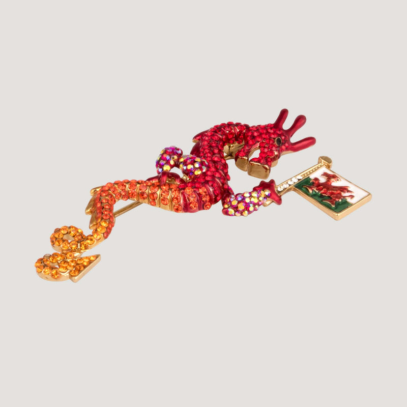 Dragon with Welsh Flag Crystal Brooch