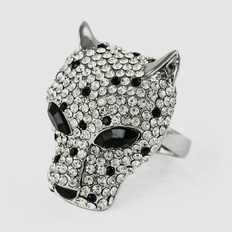 Crystal Leopard Head Adjustable Ring