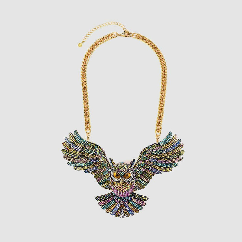 Large Crystal Open Wings Owl Necklace