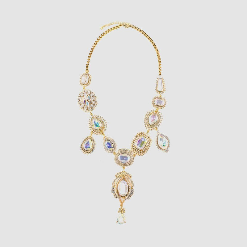 Crystal Long Elaborate 3 Drops Necklace