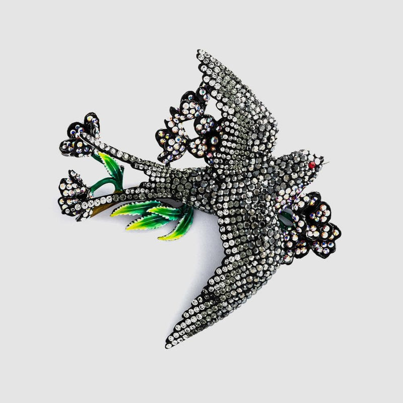 Crystal Swallow with Flowers Brooch