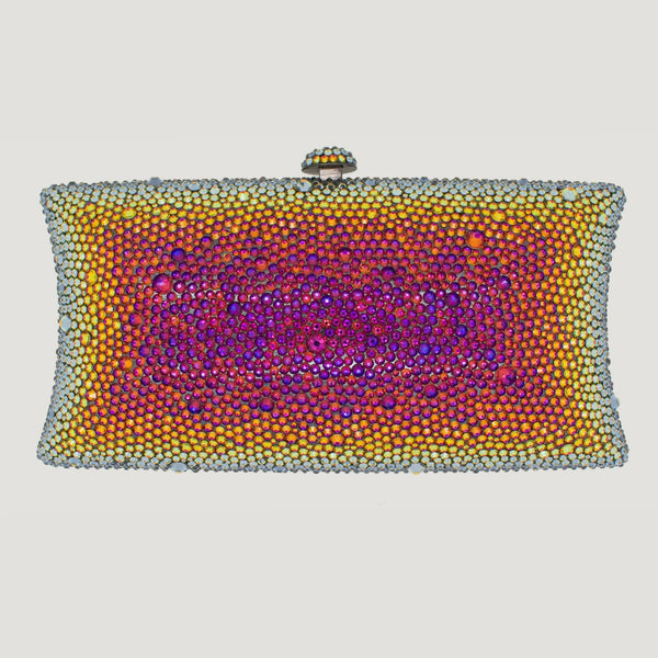 Petroleum Swarovski Crystal Clutch Bag