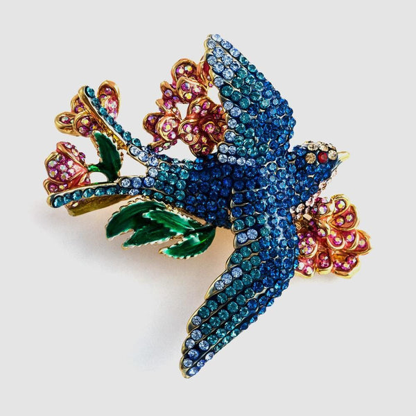 Small Crystal Swallow with Flowers Brooch