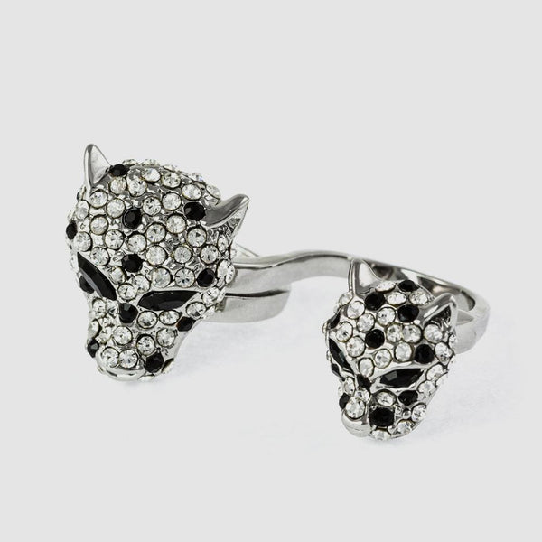 Crystal Leopard Heads Adjustable Double Ring
