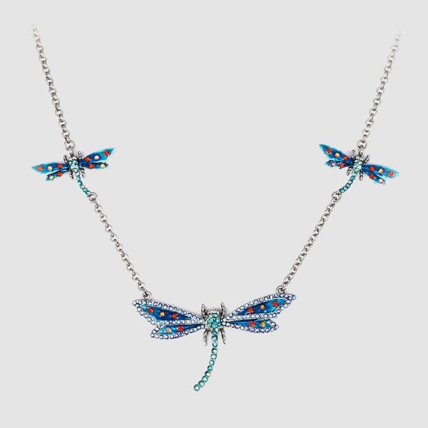 3 Dragonflies Crystal and Enamel Necklace