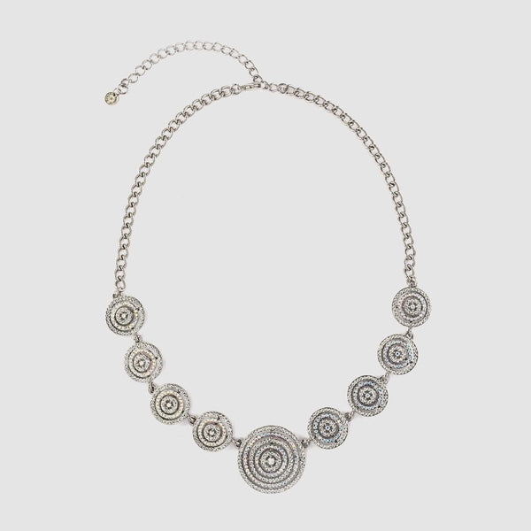 9 Swirl Discs Crystal Necklace