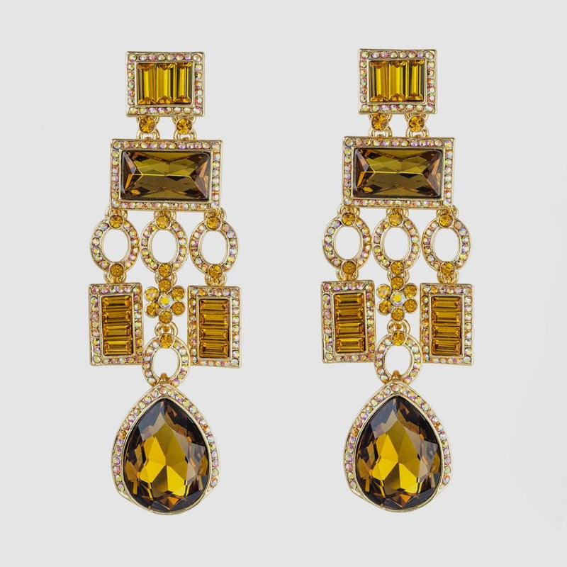 Crystal Square & Pear Shape Drop Art Deco Earrings
